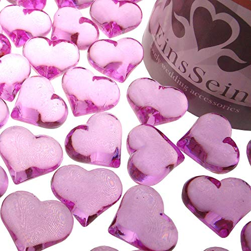 EinsSein 30x Strooi Kristallen Tafel Harten Hartform bruiloft Acryl 22mm roze rood glazen steentjes vorm van een hartje tafels decoratie vaasjes tafelconfetti tafeldecoratie decoratie dopen geboorte