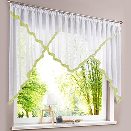 HongYa Kuvertstore transparenter Voile Gardine mit Satinbänder Kräuselband Vorhang H/B 145/450 cm Grün