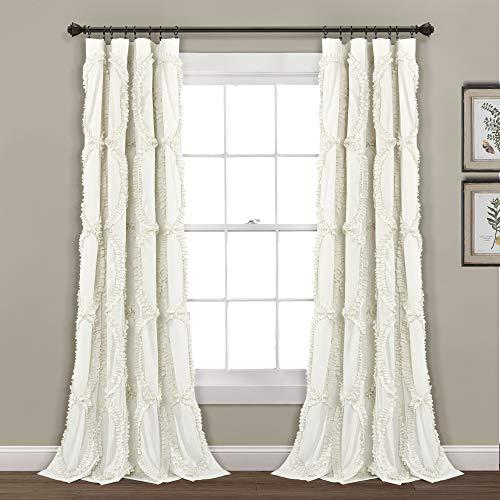 "Lush Decor Avon Window Curtain Ivory Panel for Living, Dining Room, Bedroom (Single), 84"" 54"""