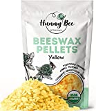 HUNNYBEE Yellow Beeswax Pellets Organic - (1lb)   Beeswax Pellets   Beeswax pastilles   Triple Filtered Beeswax pellets for Lip Balm   Beeswax pellets Food Grade   100% Pure   Premium Cosmetic Grade