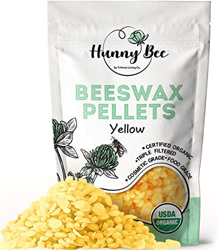 HUNNYBEE Yellow Beeswax Pellets Organic - (1lb) | Beeswax Pellets | Beeswax pastilles | Triple Filtered Beeswax pellets for Lip Balm | Beeswax pellets Food Grade | 100% Pure | Premium Cosmetic Grade