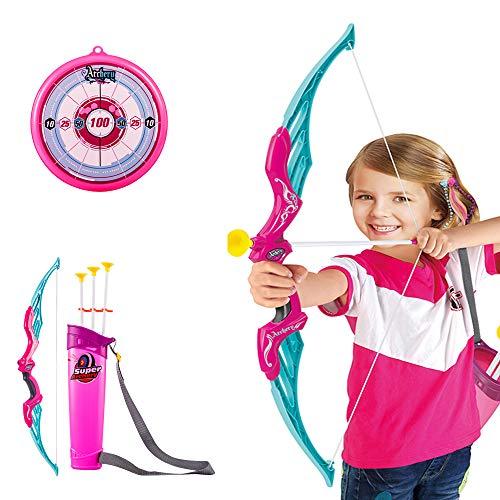 Mecotecn Arco y Flechas Niños - Tiro con Arco Kit con 1 Arco, 1 carcaj, 3 Flechas y 1 Objetivo, Regalo Ideal para 6 Años + Niños y Niñas