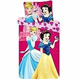 Princesas Disney Blancanieves y Cenicienta Juego de cama de algodón para niña, 90 x 140 cm, funda de almohada 40 x 55 cm