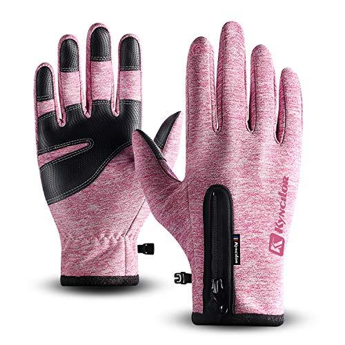 T98 Touchscreen Handschuhe, Fahrradhandschuhe Laufhandschuhe Winter Warme Sporthandschuhe Herren Damen Winddicht Wasserdichter Winterhandschuhe für Radfahren, Wandern, Skifahren (Pink, L)