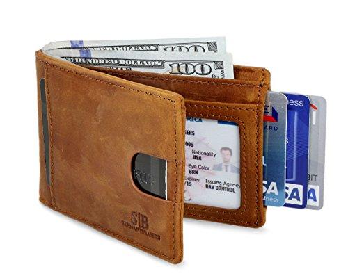 Travel Wallet RFID Blocking Bifold Slim Genuine Leather Thin Minimalist Front...