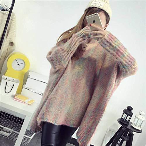 Dames Truien en Jumpers Herfst en Winter Losse V-hals Bat-Style Mantel Grote Maat Regenboog Mohair Sweater Vrouwen Trui Trui, JUSTTIME Eén maat roze
