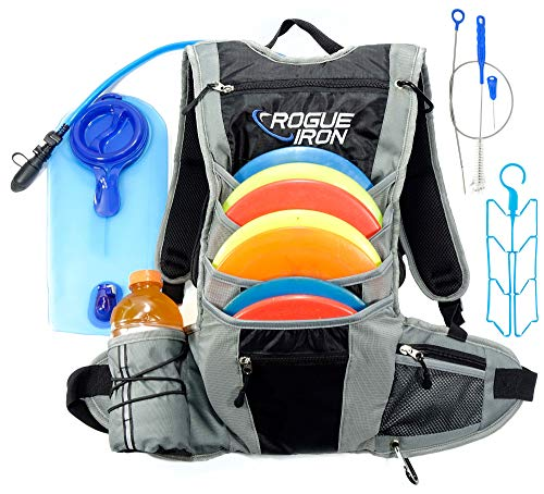 Rogue Iron Sports Disc Golf Hydration Backpack (Black and Grey)