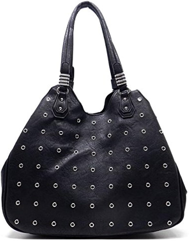 Fresh Paint Grommet Embellished Handbag with Insert Black