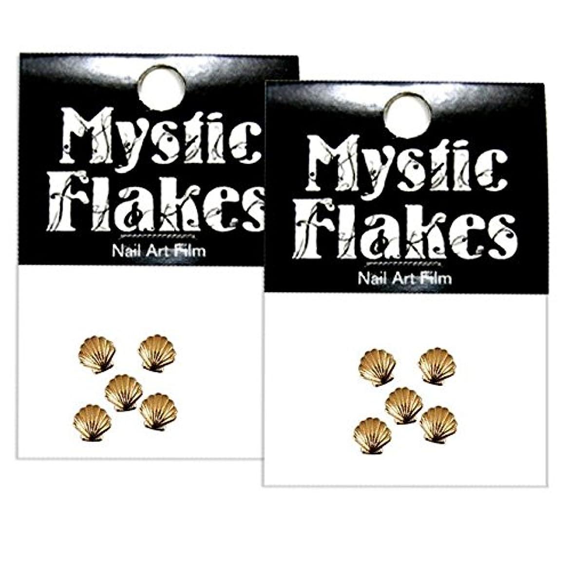 取り付けソフトウェアどれかミスティックフレース ネイル用ストーン メタルシェル ゴールド 3mm /5P 2個セット