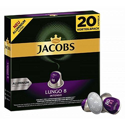 80 x JACOBS - Nespresso OriginalLine Compatible ALUMINIUM Capsules - LUNGO INTENSO - Intensity 8