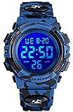 Reloj para niños y niñas LED reloj deportivo impermeable digital electrónico casual Militar muñeca con correa de silicona de camuflaje, alarma luminosa, cronómetro azul claro, Reloj LED de 7 colores, Camuflaje azul oscuro., niño