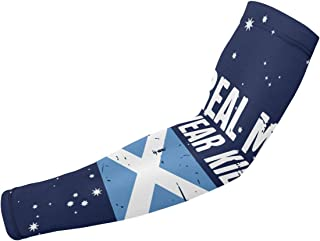 LID92DS Scottish Flag Real Men Wear Kilts Sun Protection Sunblock Sleeves Golf Cycling Running Driving Fishing Biking Basketball Cooling Arm Sleeves for Kids Men Or Women 1 Pair