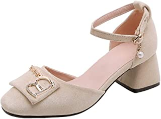 BalaMasa Womens ASL06355 Pu Block Heels