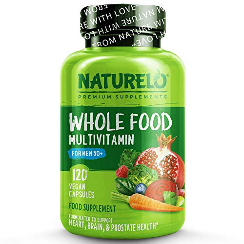 NATURELO Whole Food Multivitamin for Men 50+ - with Natural Vitamins, Minerals, Botanical Blends - Complete Formula to Help Support Energy, Brain, Heart Health - 120 Vegan Capsules | 1 Month Supply