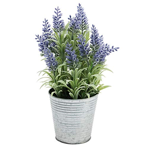 Omygarden 13inch Purple Artificial Lavender Flowers with Iron Bucket, Fake Lavender Potted Plant,...