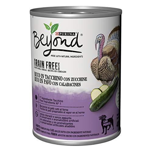 Purina Beyond Húmedo - Comida para Perro Grain Free de paté con Pavo y Calabazas, 12 latas de 400 g Cada uno, Paquete de 12 x 400 g