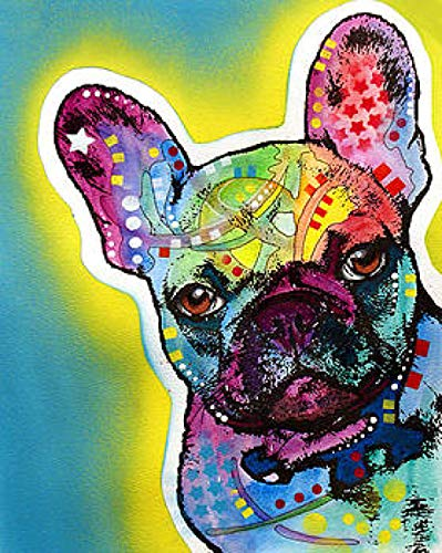 Colorful French Bulldog Pet Dog﹣ 5D Diamond Painting Full Drill ﹣ Mosaic Cross Stitch Embroidery Home Decorative Art