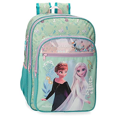 Disney Frozen Follow Your Dreams Mochila Escolar Doble Compartimento Adaptable a Carro Azul 31x42x13 cms Poliéster 16,93L