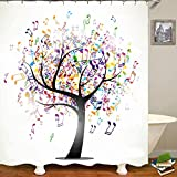 Shower Curtain Waterproof Polyester Fabric Liner with 12 Hooks White Cloth Colorful Music Tree Note Pattern for Bathroom Bathtub Hotel 71 x 71 Inch