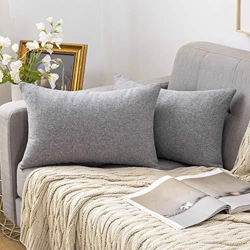 MIULEE 2er Pack Home Dekorative Leinen-Optik Kissenbezug Kissenhülle Kissenbezüge für Sofa Schlafzimmer mit Reißverschlüsse 30x50 cm Grau