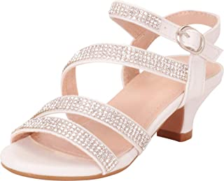 dffc4a5ce5c8 Cambridge Select Girls  Strappy Crystal Rhinestone Low Heel Sandal  (Toddler Little Kid