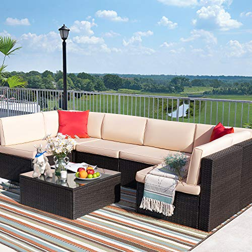 Tuoze 7 Pieces Patio Furniture Sectional Outdoor All Weather PE Rattan...