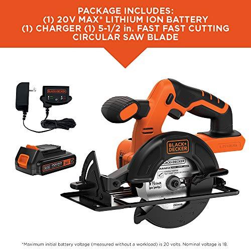 BLACK+DECKER 20V MAX 5-1/2-Inch Cordless Circular Saw (BDCCS20C)