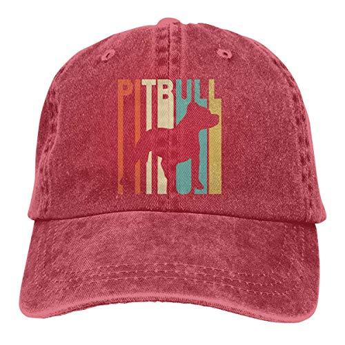 Hoswee Baseballmütze Hüte Kappe Herren Damen Baseball Cap Retro Style Pitbull Silhouette-3 Vintage Denim Trucker Hut für Herren