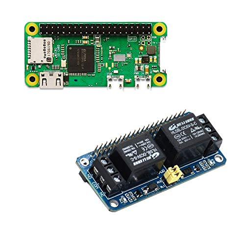 sb components Raspberry Pi Zero WH mit integriertem WLAN und Bluetooth, Raspberry Pi Zero W mit Nullrelais 2-Kanal 5 V Relaisschild für Raspberry Pi | Raspberry Pi Zero WH Kit