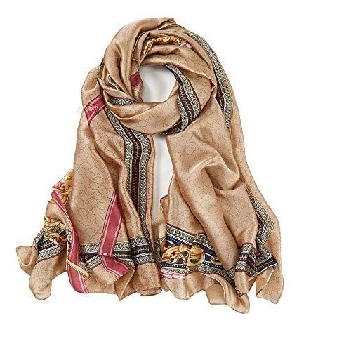 Schal Damen seide Frühling Sommer Halstuch dekorative Seidenschals Vintage Schal Wrap weicher gestreifter Kettenschal Long Luxury Geschenkschals