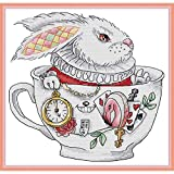 Printed Cross Stitch Kits 11CT 13X13 inch 100% Cotton Holiday Gift DIY Embroidery Starter Kits Easy Patterns Embroidery for Girls Crafts DMC Stamped Cross-Stitch Supplies Needlework The Rabbit Cup