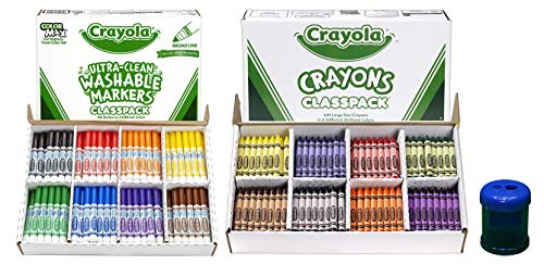 Crayola Broad Line Washable Markers, Classpack, 200 Count | Crayon Classpack Large Size, (400 Count) Bulk Pack | Includes a Pencil and Crayon Sharpener