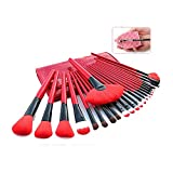 Lookathot Makeup Brushes, 24 Pieces Makeup Brush Set Bamboo Handle Professional Foundation Blending Blush Eye Face Liquid Powder Cream Cosmetics Brushes with Pouch Bag and Brush Egg (Red)