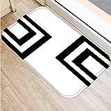 OPLJ Felpudo de Bienvenida con Estampado geométrico en Blanco y Negro nórdico, Alfombra Absorbente Antideslizante para baño y Cocina A15 60x90cm