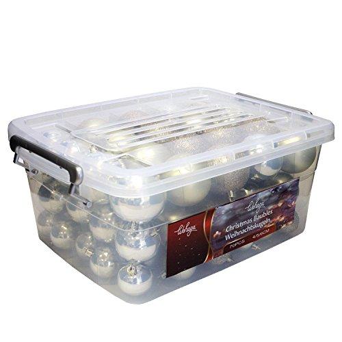 Wohaga® 70 Stück Weihnachtskugeln inkl. Transportbox Christbaumkugeln Baumschmuck Weihnachtsbaumschmuck Baumkugeln-Set, Farbe:Champagner