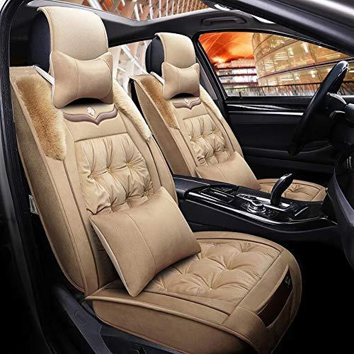 Schaffell Auto Sitzbezug, Winter Warm halten Plüsch, universal Kissen Automarke Dekoration, 4 Farben,Beige