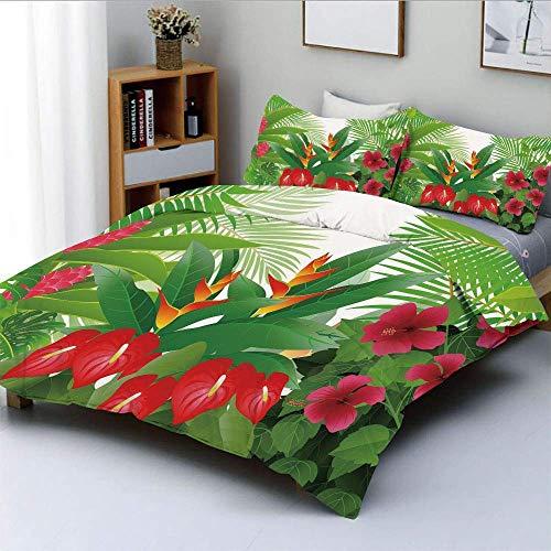 Bettbezug-Set, Tropische exotische Wald Hibiskus rote Ingwer und Anthurium BlumenDekorative 3-teilige Bettwäsche-Set mit 2 Kissen Sham, weiß dunkelgrün und pink, Ki Easy Care A.