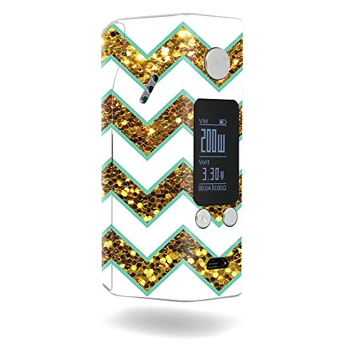 MightySkins Skin Compatible with Wismec Reuleaux RX200S – Glitzy Chevron   Protective, Durable, and Unique Vinyl Decal wrap Cover   Easy to Apply, Remove, and Change Styles   Made in The USA