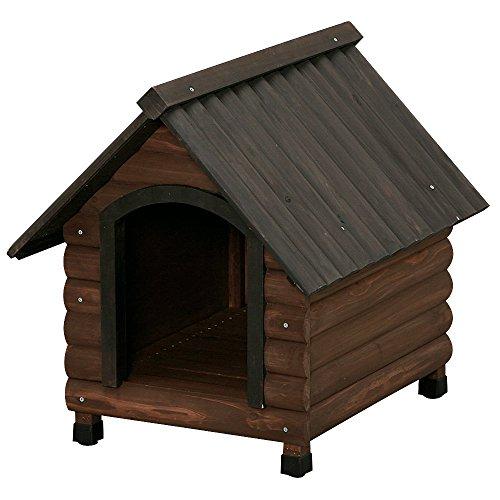 アイリスオーヤマ ログ犬舎 ダークブラウン W60×L74.5×H68cm