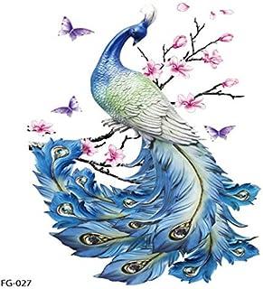 Personalidad Flash Tatoo Tatuaje de pavo real de la mariposa Pegatinas de tatuajes temporales Arte corporal impermeable Belleza universal Calcomanía - Multicolor