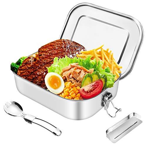 HB life Brotdose aus Edelstahl Lunchbox Bento Box Metall Dichte Brotdose Lunchbox (Patent angemeldet) für aus laufsicher 1400ml Fassungsvermögen mit Fächern für Reisen/Arbeit/Erwachsene