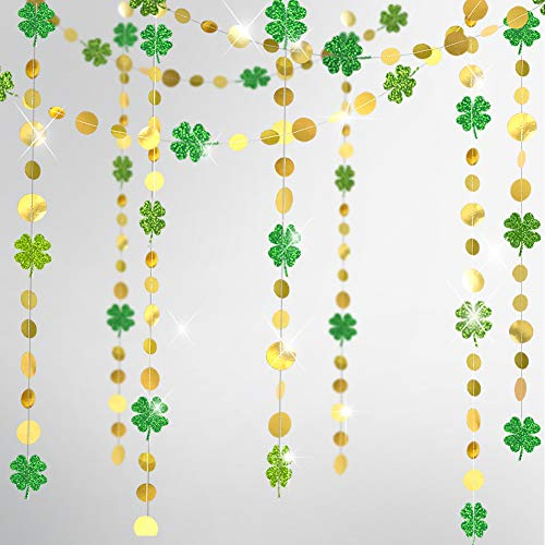 Gold Circle Dots Glitter Shamrock Clover Garland for St Patrick's Day Decoration Lucky St Patricks Day Decor Spring Party Hanging Streamer Backdrop for Irish Baby Shower Birthday Party Supplies
