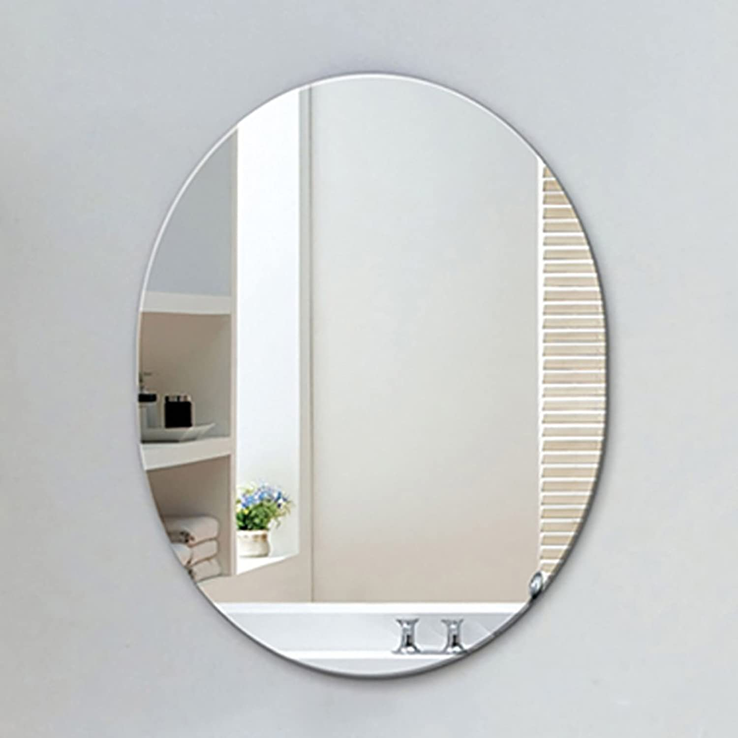 GUOWEI Mirror Oval Frameless HD Imaging Wall Hanging Bathroom Makeup Silver (color   Silver, Size   45x60cm)