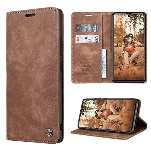 RuiPower Handyhülle für Samsung Galaxy S10 Lite Hülle Premium Leder PU Flip Hülle Wallet Lederhülle Klapphülle Magnetisch Silikon Bumper Schutzhülle für Samsung Galaxy S10 Lite Tasche - Braun