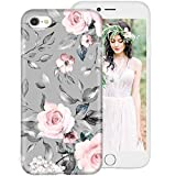 iPhone 6S Case,iPhone 6 Case for Girls Women,Floral Flower Cute Design Soft Silicone Protective Phone Case Cover with Pink Flowers + Gray Leaves Pattern for Apple iPhone6S / iPhone6 4.7 Inch