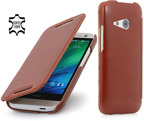 StilGut® UltraSlim Case, Tasche in Book Type Stil aus Leder für HTC One Mini 2, Cognac