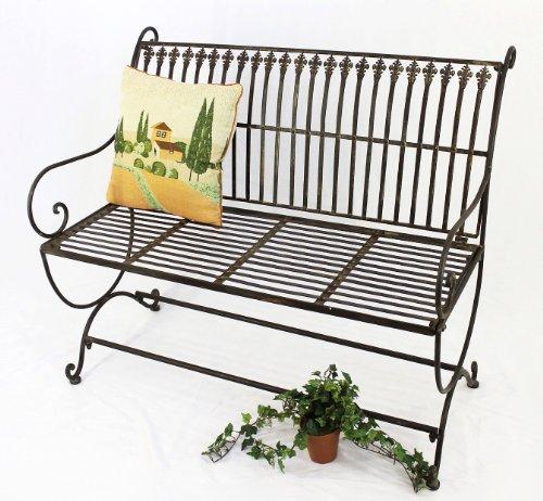 DanDiBo Gartenbank Metall Braun Wetterfest 2-Sitzer Finca 102 cm Bank Garten Sitzbank Eisen