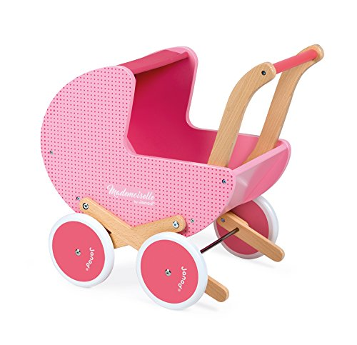Janod J05899 Puppenwagen aus Holz rosa, Mademoiselle'