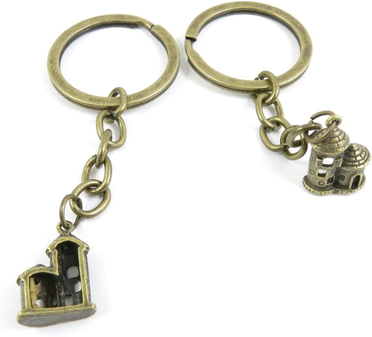 100 PCS Keyrings Keychains Key Ring Chains Tags Jewelry Findings Clasps Buckles Supplies Z0OQ7 Castle