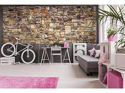 Vlies Fotobehang STENEN MUUR | Niet-Geweven Foto Mural | Wall Mural - Behang - Reusachtige Wandposter | Premium Kwaliteit - Gemaakt in de EU | 375 cm x 150 cm
